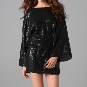 Parker Open Back Black Sequin Long Sleeve Dress S